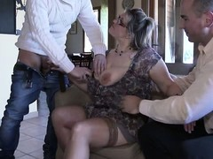 Gangbang, women, Mom Gangbang, Secretary Stockings